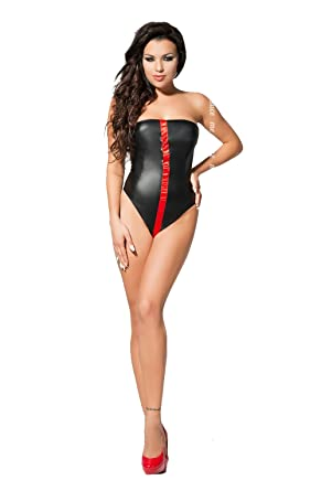 e8ac1c0b071 Sexy Black Bodysuit beautiful eco-leather pretty middle red ribbon design  with three metal hoops
