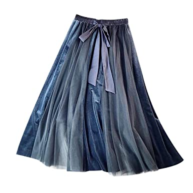 4adc38a43c361f Ohwens Jupe, Jupe Longue, Jupe Longue Hiver, Jupe Longue Femme, Automne  Hiver Femmes Jupe Velours Taille Haute Gaze Demi Jupes Robe Tutu Haute en  ...