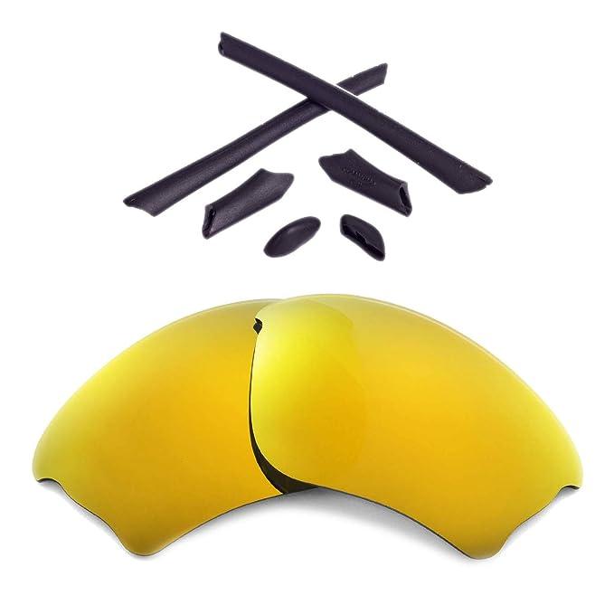 03862dd0d3023 Walleva Replacement Lenses Or Lenses Rubber Kit for Oakley Half Jacket XLJ  Sunglasses - 41 Options (24K Gold Polarized Lenses + Black Rubber)   Amazon.co.uk  ...