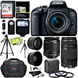 Canon EOS REBEL T7i EF-S 18-55 IS STM Kit, EF 75-300mm III, Lexar 64GB, Polaroid Wide Angle, Telephone Lens, Polaroid 57'' Tripod and Accessory Bundle