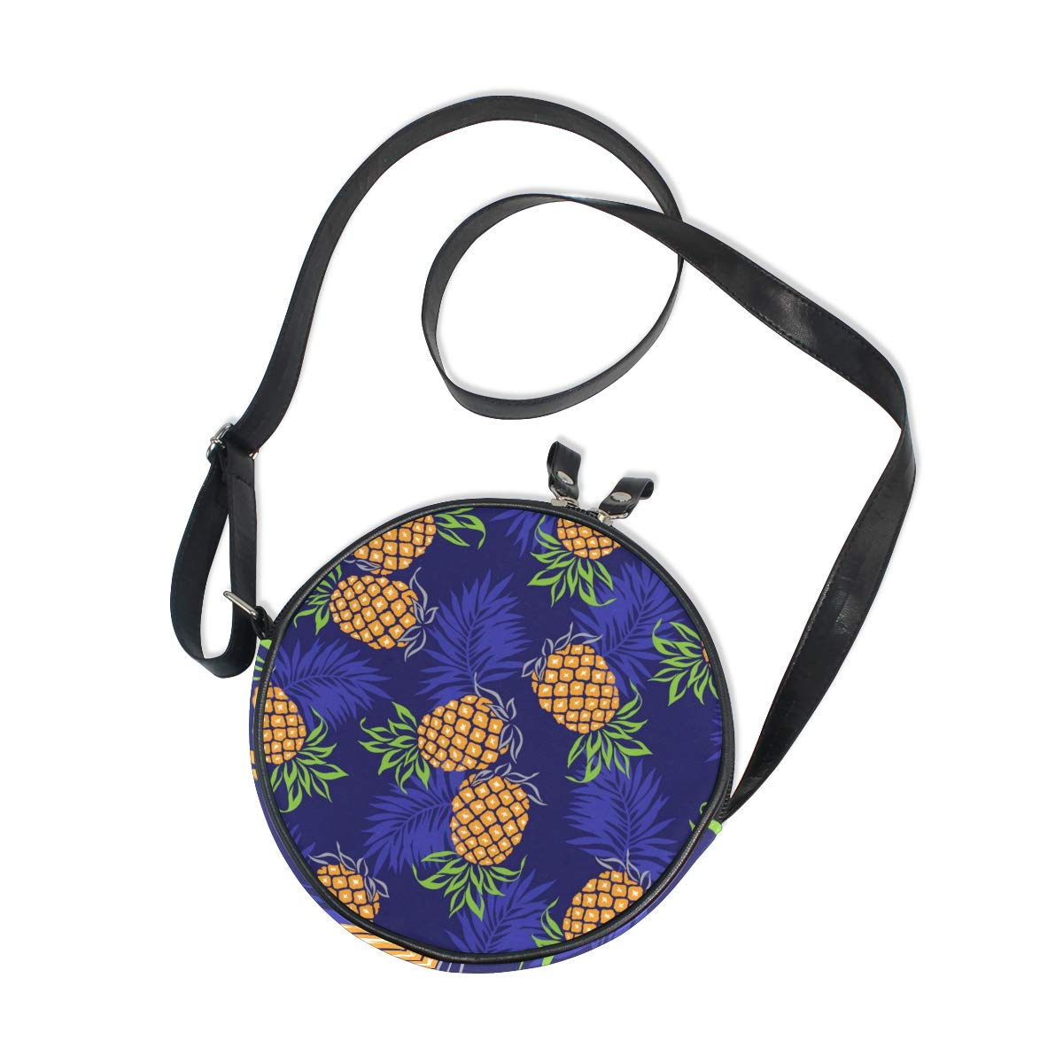 KEAKIA Pineapple Pattern Round Crossbody Bag Shoulder Sling Bag Handbag Purse Satchel Shoulder Bag for Kids Women