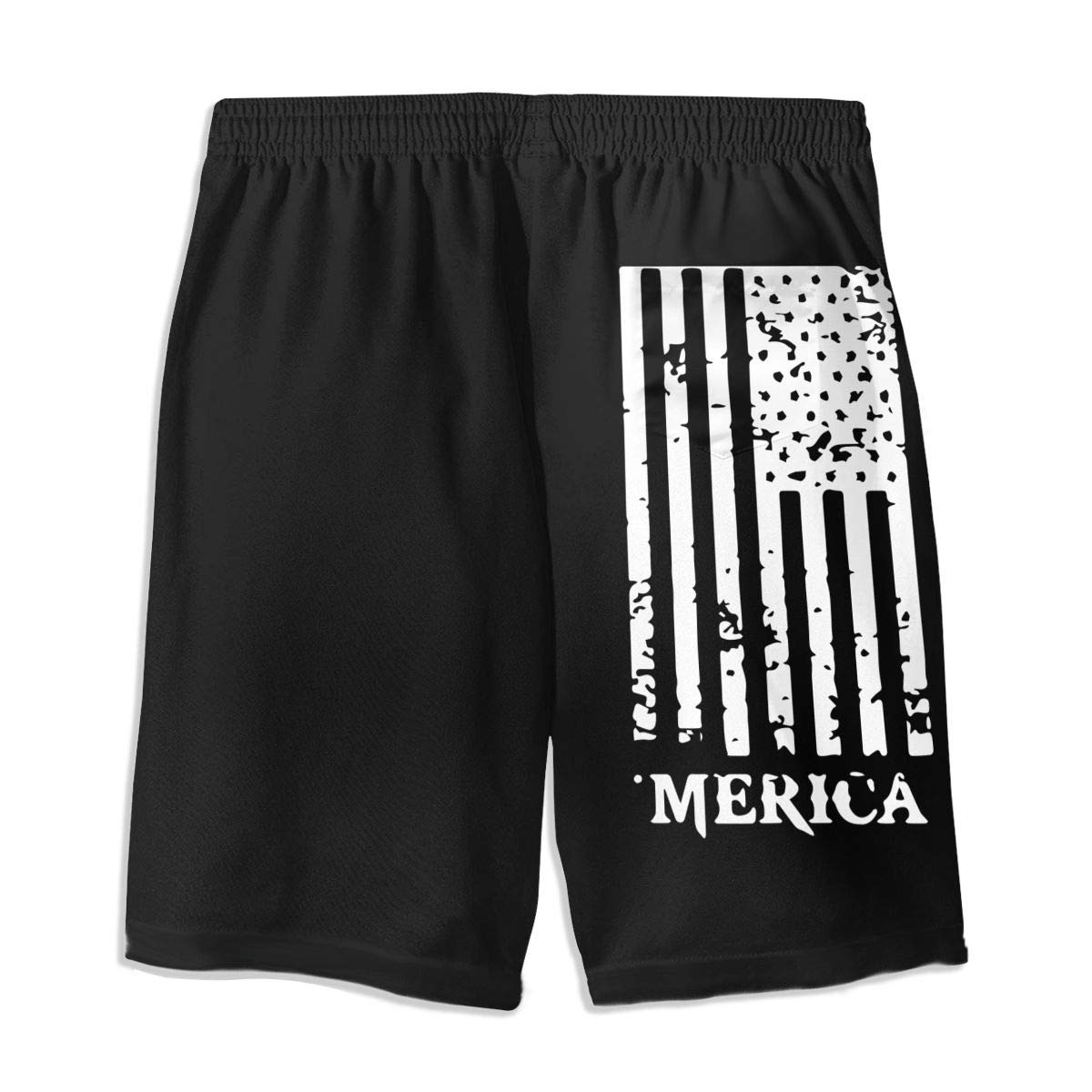 COLSHOORTS Flag of Merica Mens Hawaiian Shorts Quick Dry Summer 3D Printed Elastic Beach Trunks Aloha Short with Pocket