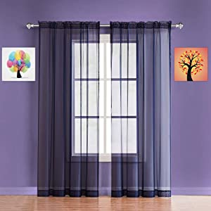 Warm Home Designs Pair of Extra Short Length Royal Blue Sheer Window Curtains. Each Voile Drape is 56 X 40 Inches in Size. 2 Fabric Valance Panels Included. AM Navy 40""