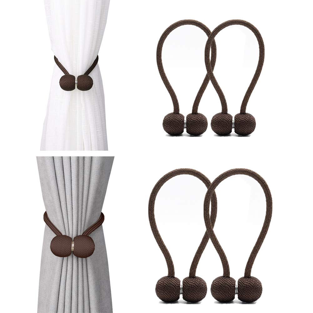 DEZENE Magnetic Curtain Tiebacks,The Most Convenient Drape Tie Backs,Decorative Rope Holdback Holder for Window Sheer and Blackout Drapries,2 Pack(12 Inch Long) and 2 Pack(16 Inch Long),Chocolate