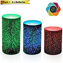 Color Changing Led Candle With 3d Pattern- Battery Operated Pillar Candles Firework Light- For Christmas Decoeration-Pack of 3