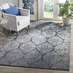 "Safavieh Madison Collection MAD604G Navy and Silver Distressed Ogee Area Rug (5'1"" x 7'6"")"