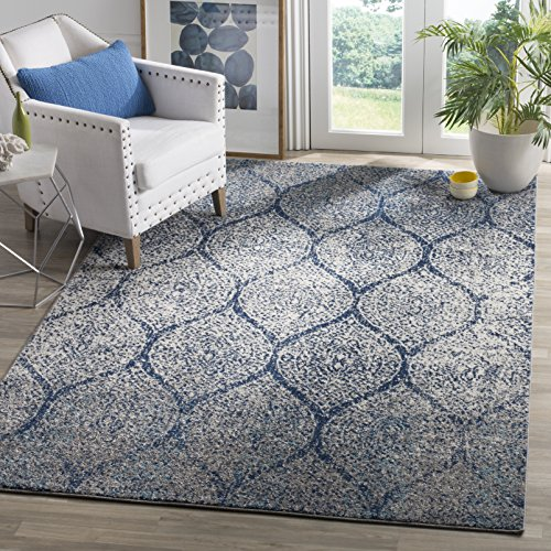 Safavieh Madison Collection MAD604G Navy and Silver Distressed Geometric Ogee Area Rug (10' x 14') (10 X 14 Rug)