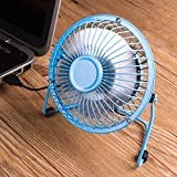 Mini USB Table Desk Personal Fan (Metal Design, Quiet Operation USB Cable, High Compatibility) (blue)