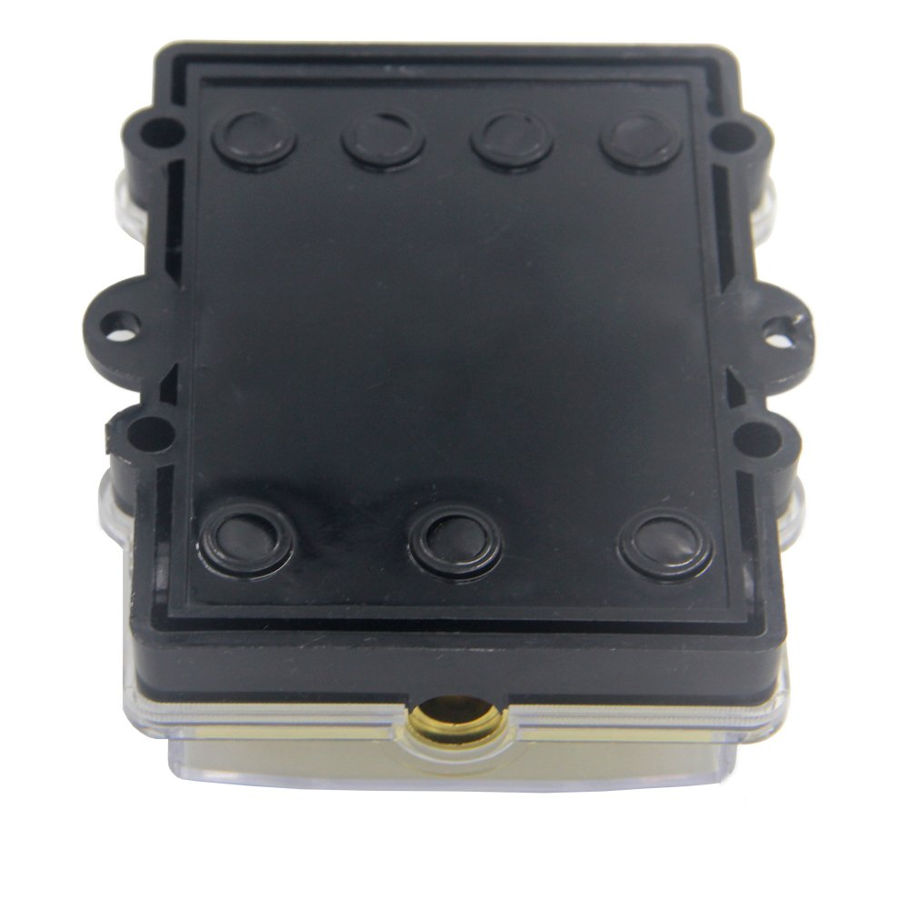 ZOOKOTO Power Distribution Block (4 - way), 6/8 AWG Gauge AGU Fuse Holder Distribution Block 2/4 Gauge In to (6) 8 Gauge Out with 60A MANL Fuses by ZOOKOTO (Image #5)
