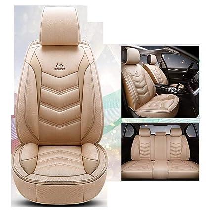 JOJOHUN Las Fundas de los Asientos de automóvil Mezcla de algodón y Lino se Combinan con el Ajuste Universal de 5 Asientos (Beige)