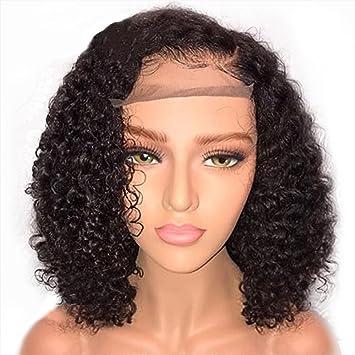 Beauty-Wig Rizado Pelucas para Mujeres Negro Color Natural Rizado Cabeza Explosión Peluca Pelo Humano