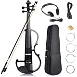 Vangoa - Black Full Size 4/4 Vintage Solid Wood Metallic Electronic Silent Mahogany Violin with Ebony Fittings, Carrying Case