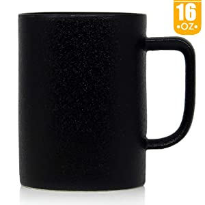 16 oz Matte texture Coffee Mug, Smilatte M052 Novelty Ceramic Cup for Latte Cappuccino Tea Hot Cocoa, Black