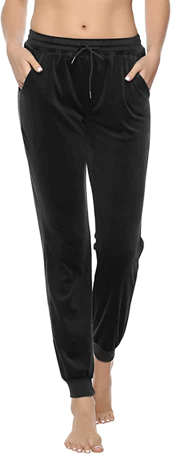Aibrou Womens Joggers Yoga Pants Active Solid Velvet Sweatpants for Women with Pockets