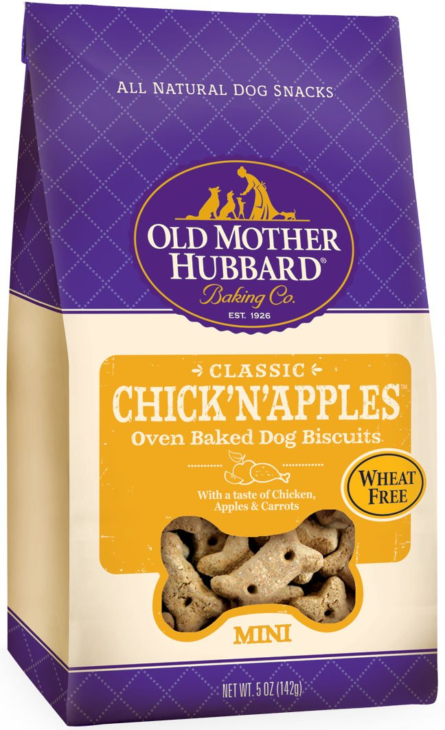 Old Mother Hubbard Classic Crunchy Natural Dog Treats, Chick'N'Apples Mini Biscuits, 5-Ounce Bag