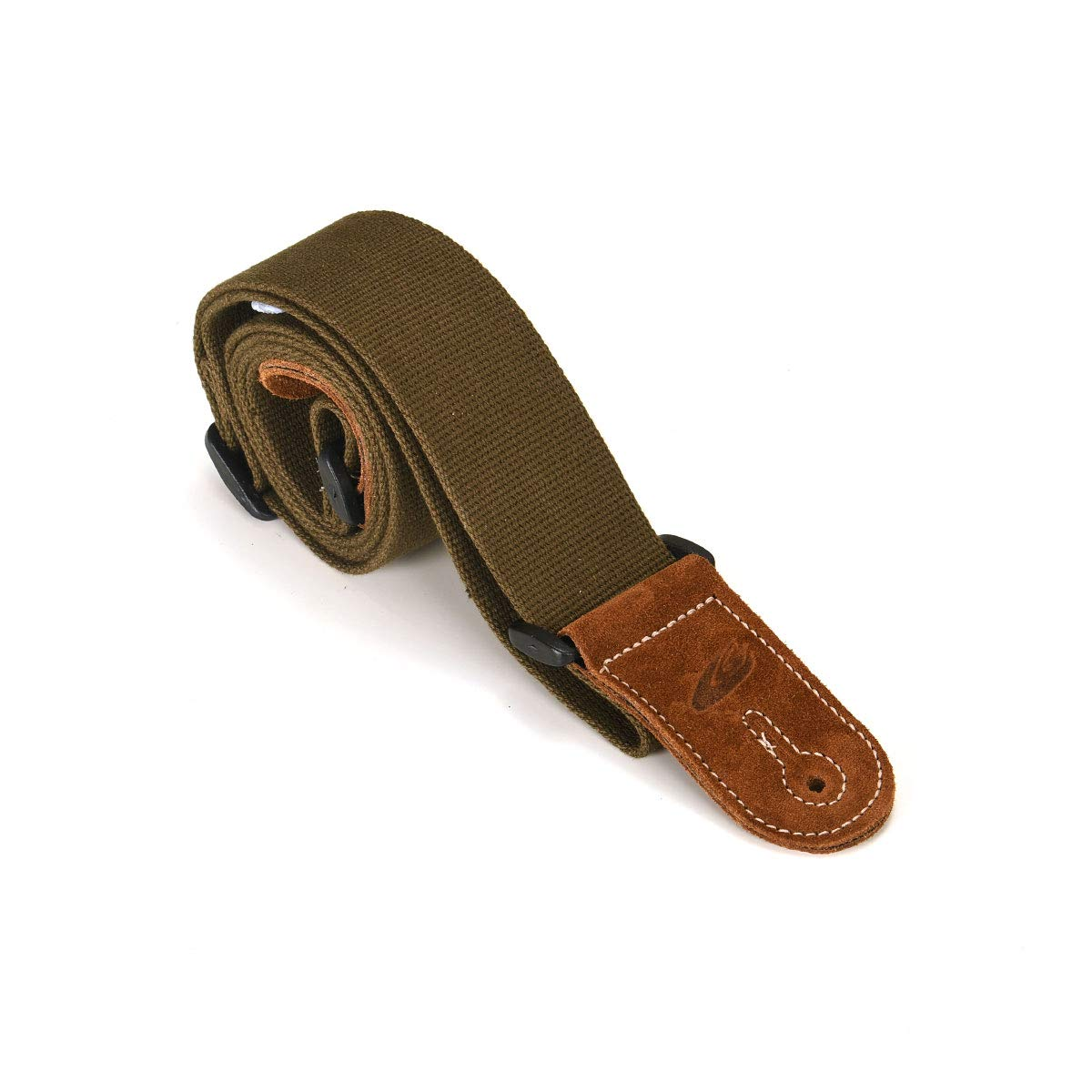 Leathergraft Khaki Green Traditional Cotton Plain Hemp Design 2 Inch Wide Guitar Strap - For all Electric, Acoustic, Classical and Bass Guitars