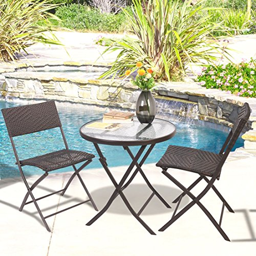 Patio Furniture Folding 3PC Table Chair Set Bistro Style Backyard Ratten (Singapore Rattan Furniture Bamboo)