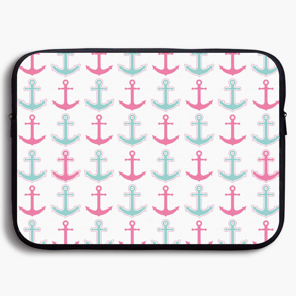 Custom Laptop Sleeve 13/15 Inch Notebook Zipper Briefcase Anchor Pink Color Print Portable Messenger Bag BUN