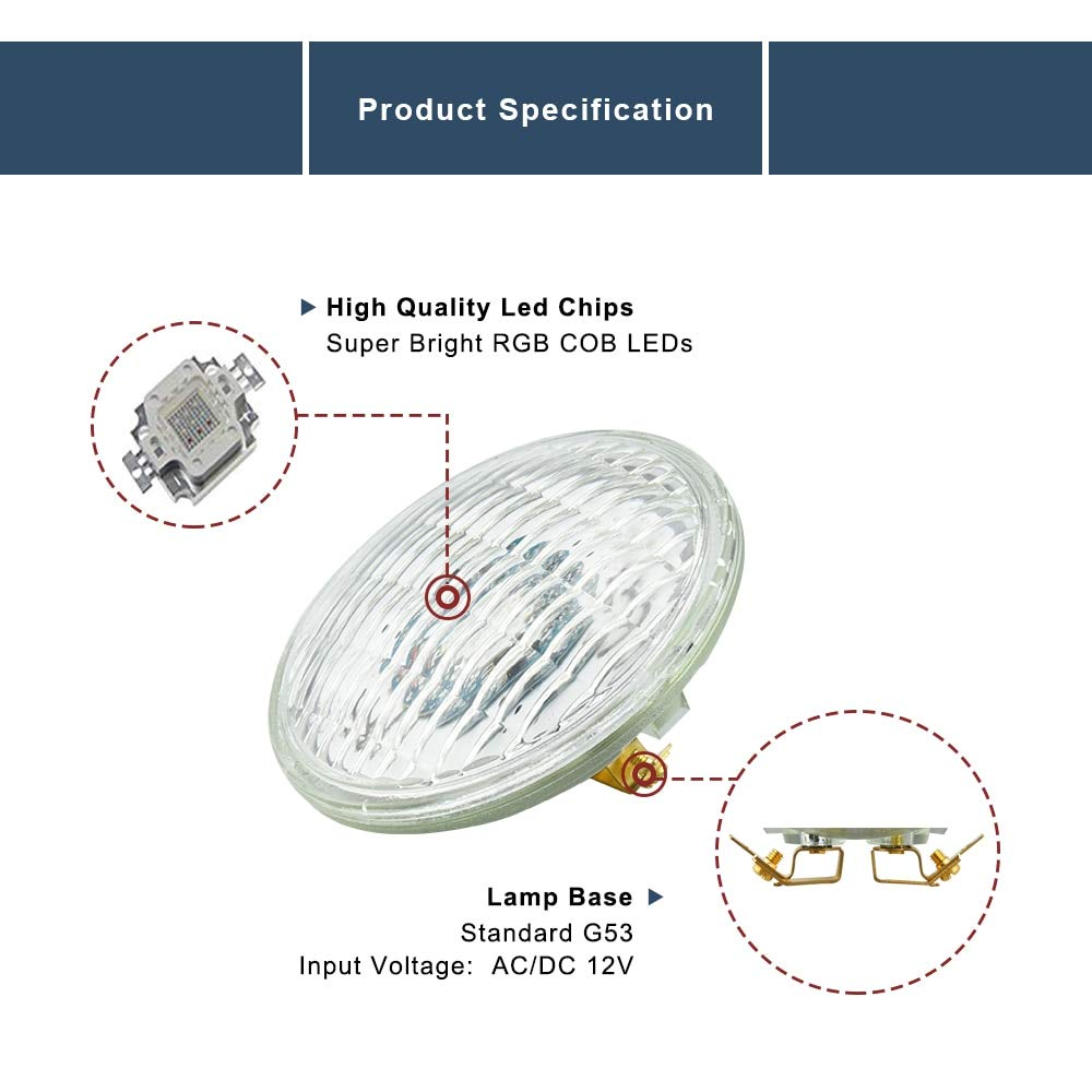 Fetcus LED PAR36 Landscape Bulb 12V RGB PAR36 10W LED PAR36 Bulb AR111 G53 LED Light Bulb PAR36 Garden Yard Swimming Pool Deck Lighting Emitting Color: RGB