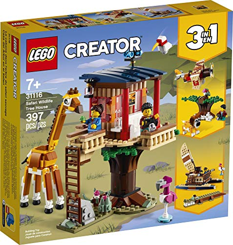 LEGO Creator 3in1 Safari Wildlife Tree House 31116 Building Kit Featuring a House Toy, Biplane Toy and Catamaran Toy…