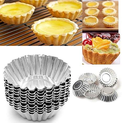 100 Nonstick Egg Tart Molds Aluminum Alloy Cupcake Muffin Baking Cups Cake Pans