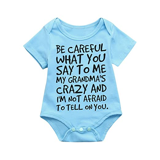 bee8f82593a Fineser Baby Boys Girls Letter Print Romper Jumpsuit Infant Kids Playsuit  Outfits (Blue