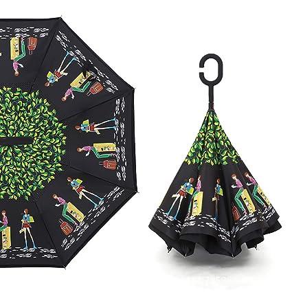 Sombrilla Paraguas A Prueba De Viento Inverso Interior Paraguas con Manos En Forma De C Mango