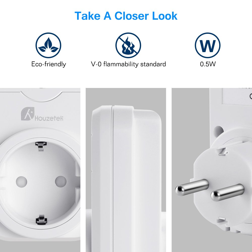 Houzatek Smart Plug Mini Inal/ámbrico programable con Funci/ón de Temporizaci/ón y Compatible con Alexa Asistente de Google//IFTTT para Android//iOS Enchufe Inteligente Wifi