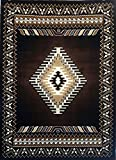 Southwest Native American Area Rug Chocolate Brown Kingdom Design D143 (5 feet 2 inches X 7 feet 1 inch)