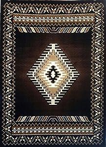 southwest native american area rug chocolate brown kingdom design d143 8ftx10ft. Black Bedroom Furniture Sets. Home Design Ideas