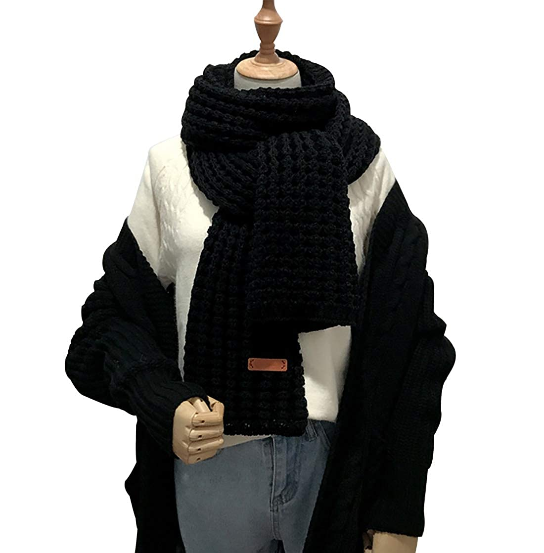 Black Winter Knit Warm Scarves Fashion Scarf Long Neck Warmer for Women Girls Men Unisex