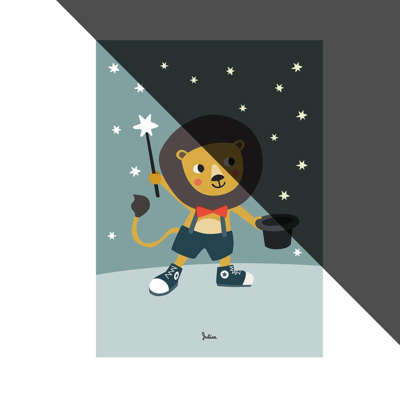 julicadesign poster cameretta | stelle nachtleuchtend | Leone | Quadro Da Parete | Decorazione da parete per bambini e Baby Camera | Dimensioni 50 X 70