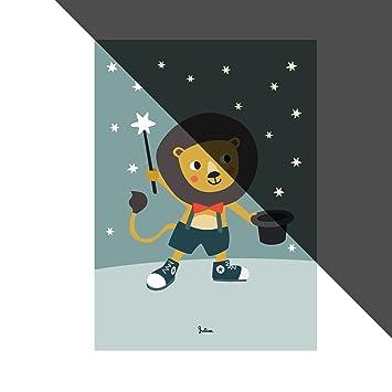 JulicaDesign Poster Kinderzimmer | Sterne Nachtleuchtend | Löwe | Wand Bild  | Wand Deko