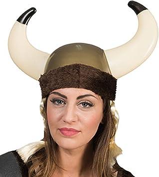 Carnaval Fete Disfraz Casco vikingo con imitación pelo trenzas ...