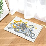 GoHeBe Nautical Animals Decor Sea Pirate Octopus with a Treasure Island Map Bath Rugs Non-Slip Doormat Floor Entryways Indoor Front Door Mat Kids Bath Mat 15.7x23.6in Bathroom Accessories