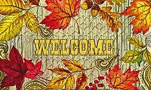 Evergreen Welcome Felpudo en relieve Hojas, 18x 30cm