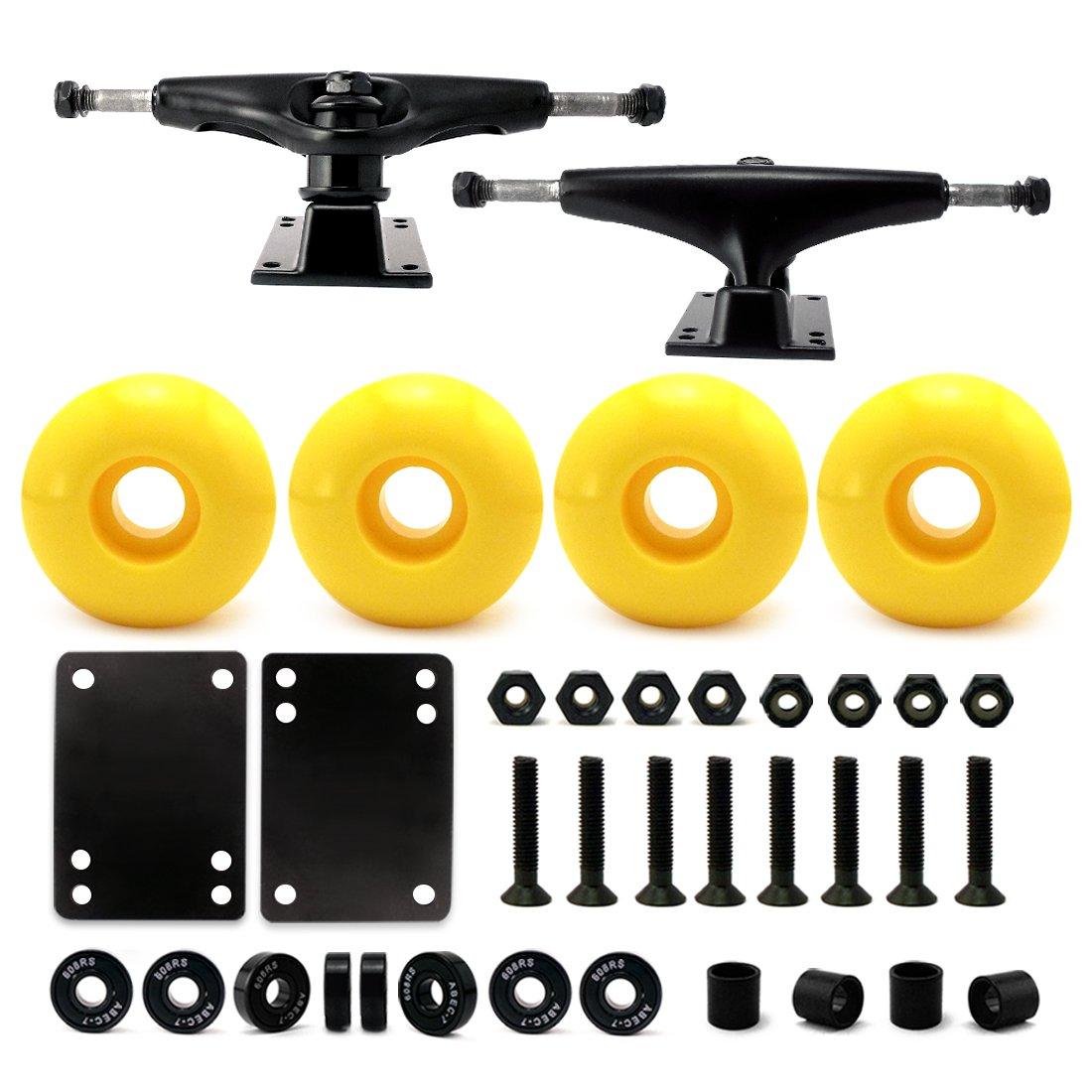 VJ 5.0 Skateboard Trucks (Black), Skateboard Wheels 52mm, Skateboard Bearings, Skateboard Pads, Skateboard Hardware 1'' (52mm Yellow) by VJ
