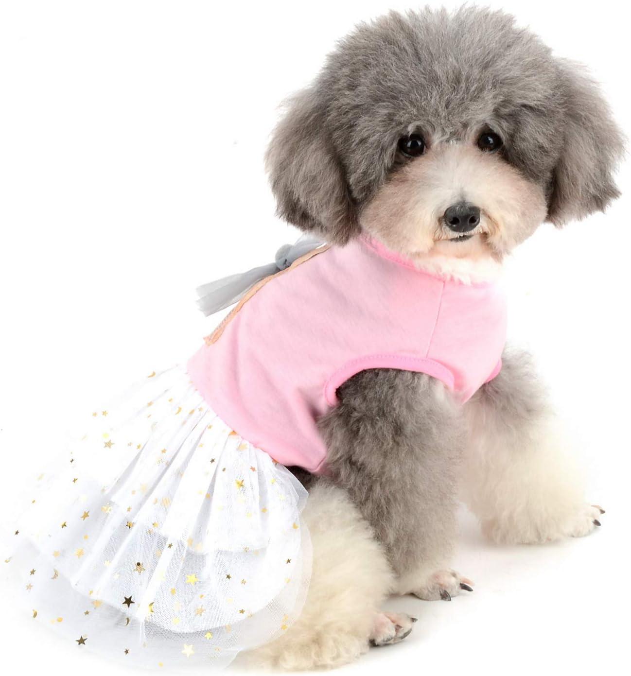 T-Shirt Tutu Kleider s/ü/ßer Sommer-Rock f/ür kleine Hunde weiche Baumwolle Haustier-Kost/üme s/ü/ßes Kaninchen Bedruckt Zunea Hundekleid Welpen M/ädchen