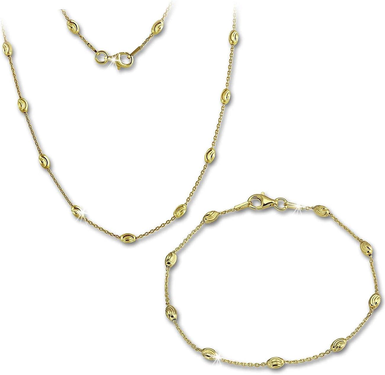 SilberDream Parure Glamour Plaqu/é Or Collier /& Bracelet Argent 925/Argent Bijoux sds238y
