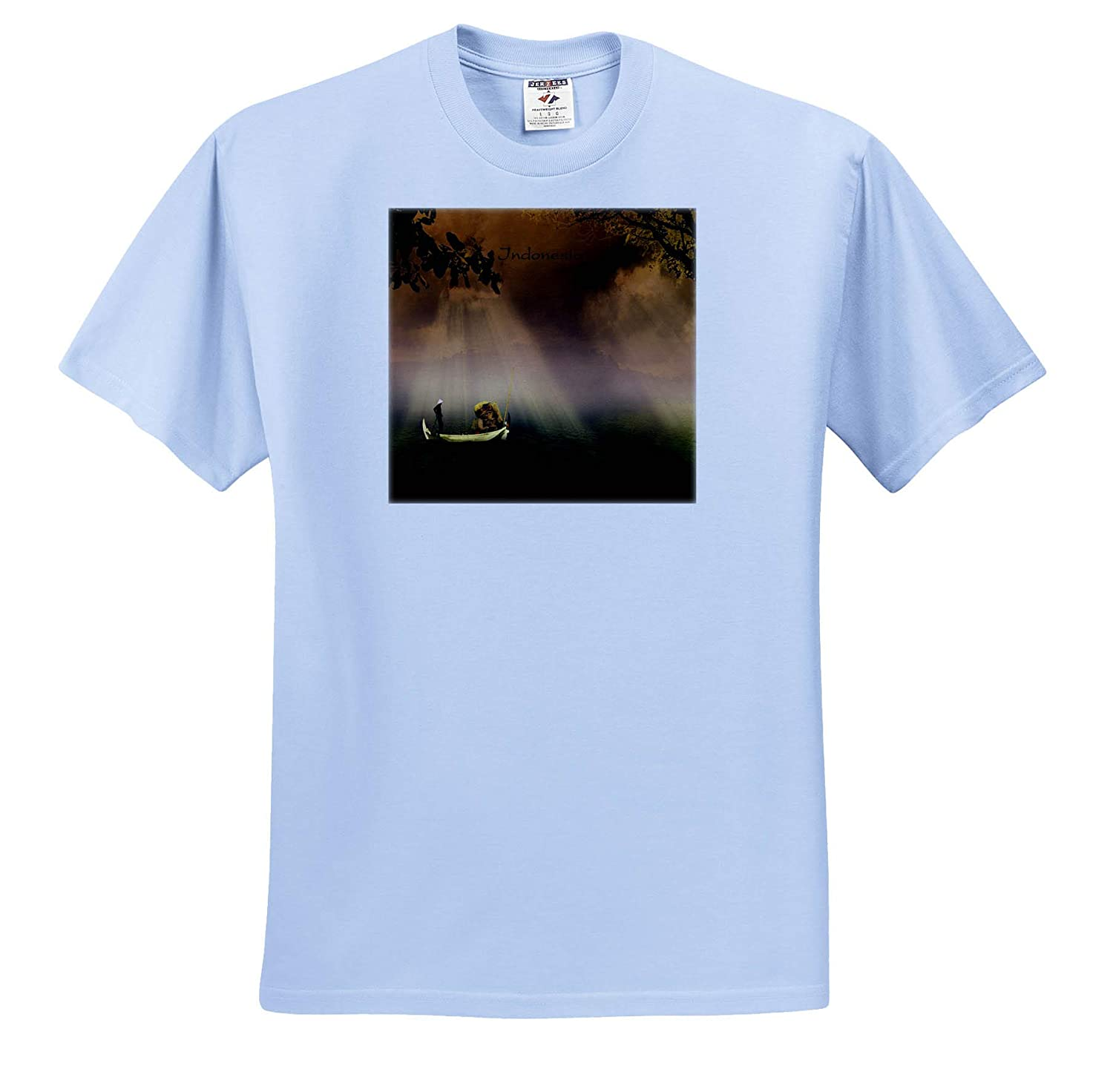 3dRose Lens Art by Florene T-Shirts Worlds Exotic Places Image of Fisherman in Boat at Sunset in Indonesia