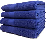 Maura Premium 100% Cotton 27x54 Ultra Absorbent Quick Dry 4 Pack Soft Terry Bath Towels Set for Bathroom, Hotel and Spa Quality. (Bath Towel - Set of 4, Rich Navy)