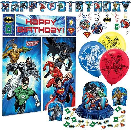 DC Justice League Premium Birthday Party Pack Decoration Kit Childrens (Justice League Party Supplies)