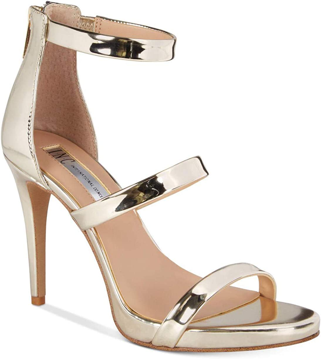INC International Concepts Womens Sadiee Leather Open Toe Pale Gold Size 9.0