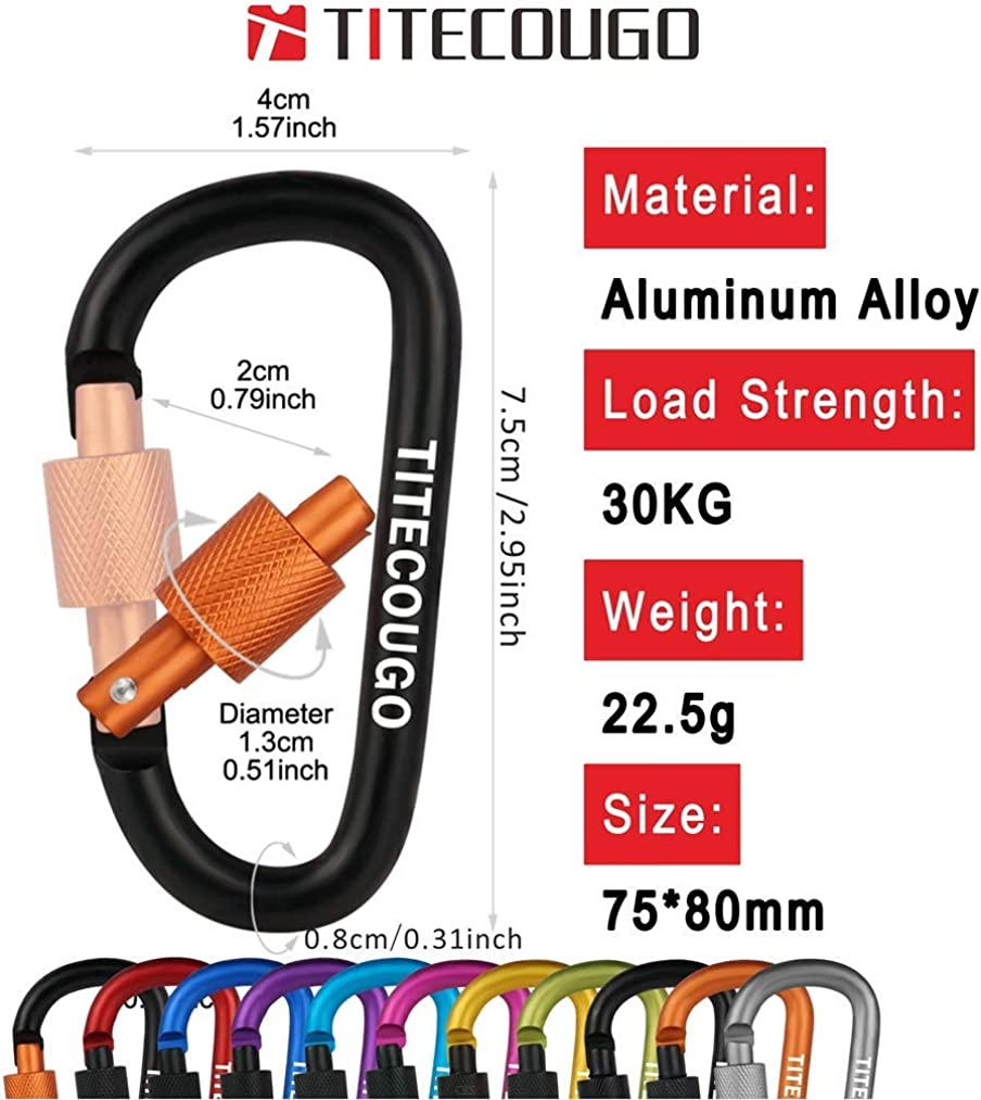 Not for Climbing TITECOUGO Aluminum Alloy D-Ring High Strength Carabiner Key Chain Clip for Camping Hiking Outdoor