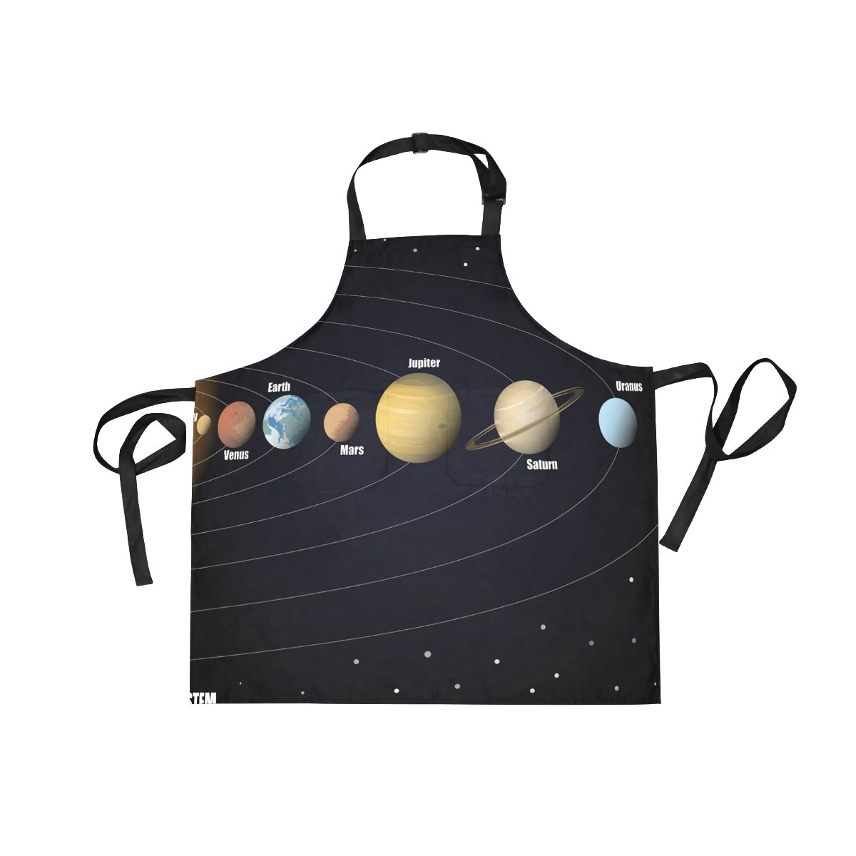 LORVIES Diagram Of Solar System Apron Unisex Kitchen Bib Apron with 2 Pockets Adjustable Neck for Cooking Baking Gardening for Women Men Chef