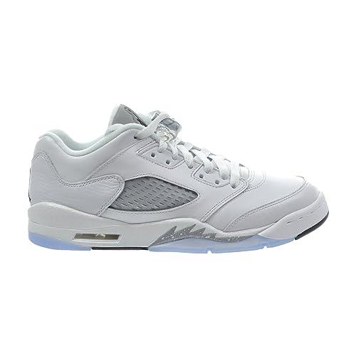 de9ab315b53c Jordan Air 5 Retro Low GG Big Kid s Shoes White Black Wolf Grey 819172