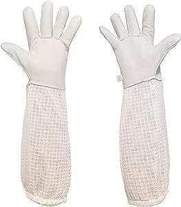 1 Pair Protective Bee Keeping 50cm Vented Long Sleeves Goatskin Glove SturdyL!Y