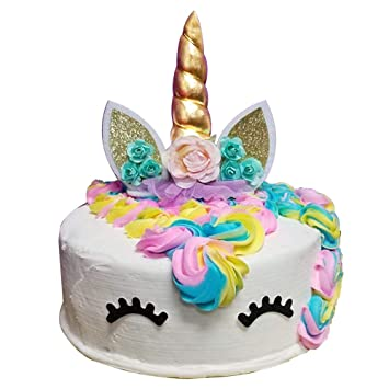 Unicorn Cake Topper Party Supplies Handmade Gold Birthday Toppers With Horn