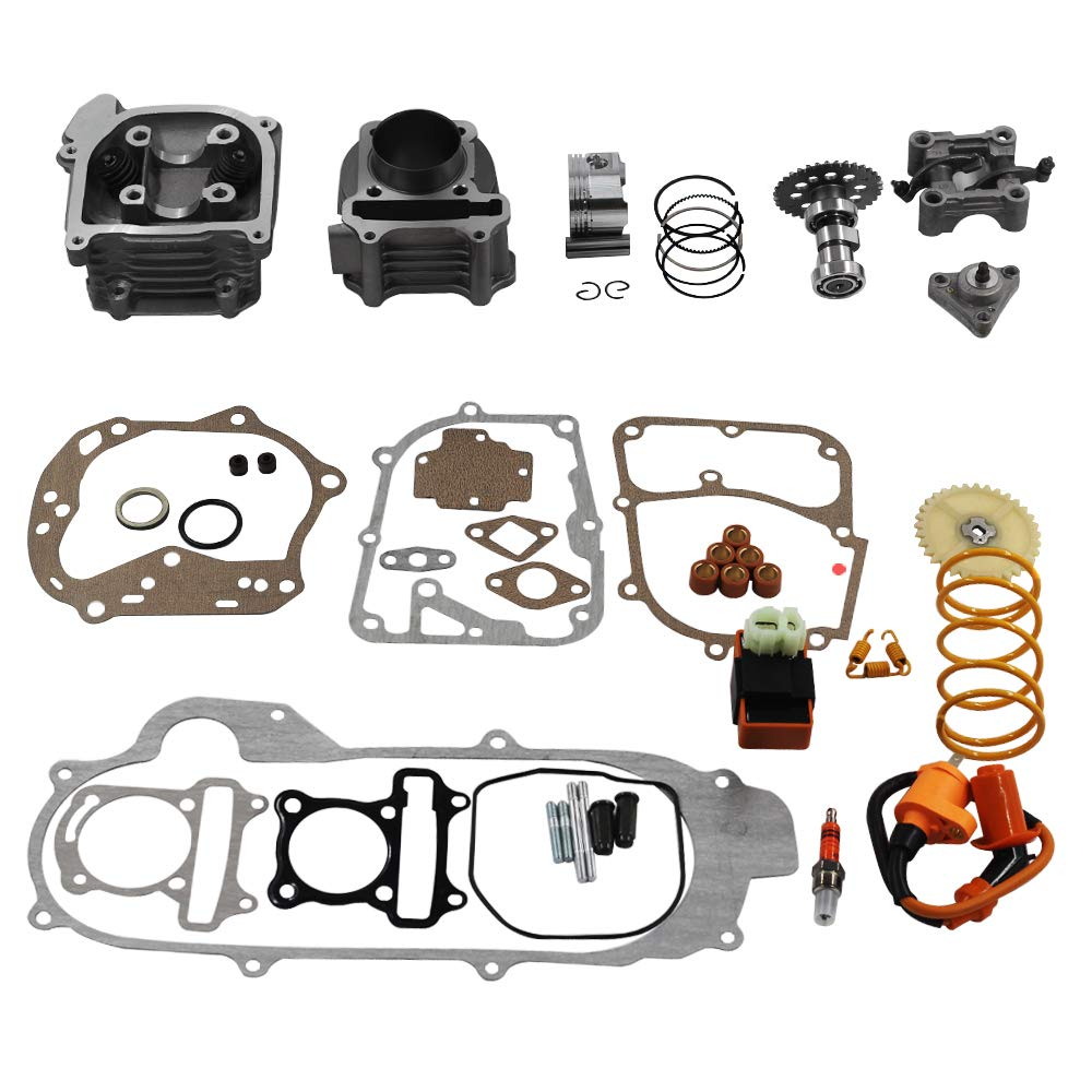 GY6 Cylinder Rebuild Kits Trkimal 100cc Big Bore Kit for 64mm Valve 49CC 50CC 139QMB Moped Scooter Engine 50mm Bore Upgrade Set with 6pin Racing CDI Ignition Coil Performance Spark Plug Clutch Spring by TRKIMAL