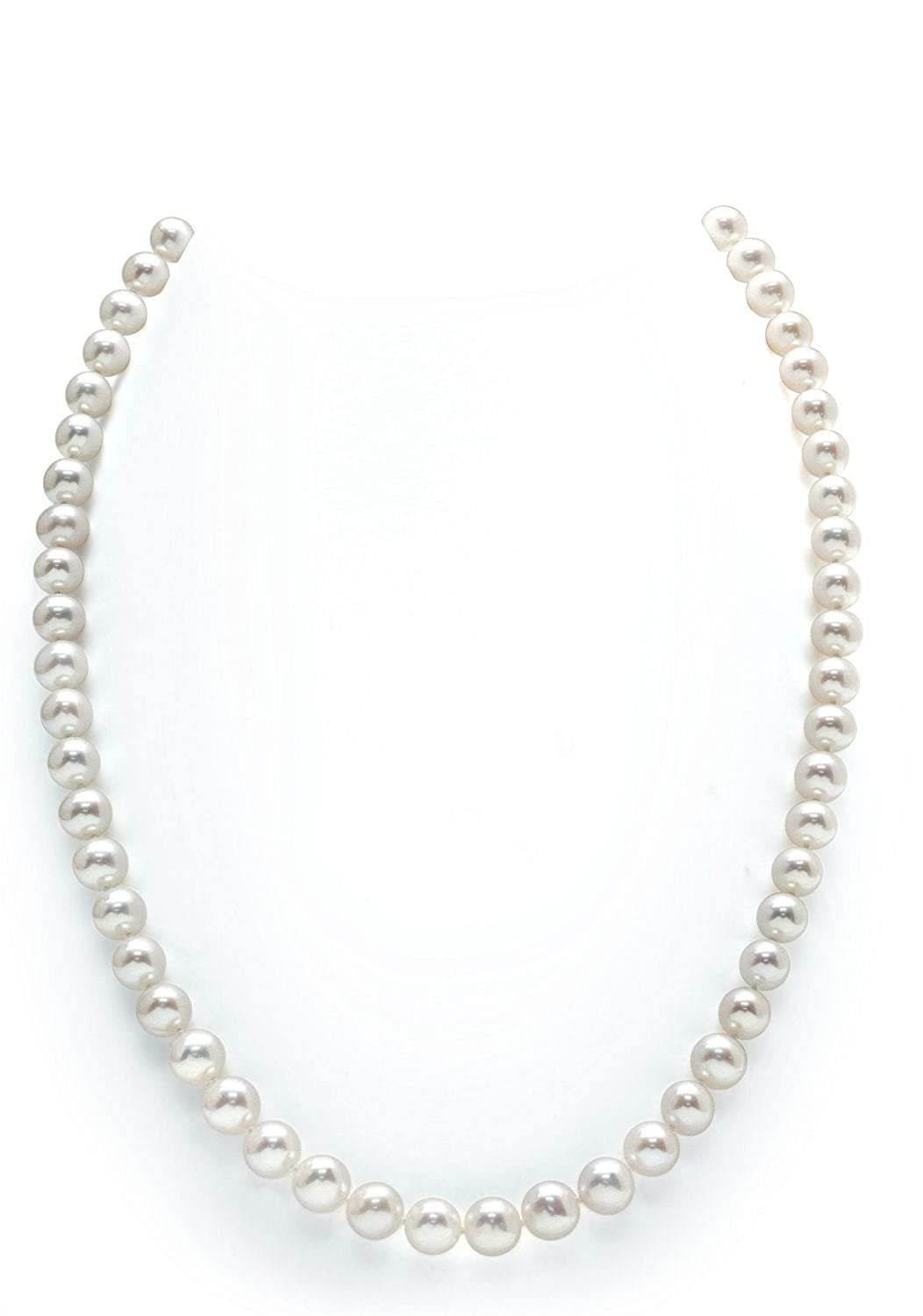 """14K Gold 5.0-5.5mm White Freshwater Cultured Pearl Necklace – AAAA Quality, 17"""" Princess Length"""